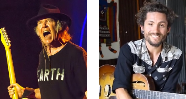 Neil Young & John Butler; two powerful environmental visionaries. (Origional Neil Photo from neilyoungnews. Origional John photo screen-shot from youtube.)